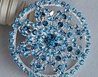 Rhinestone Brooch Teal Blue Crystal Wedding Brooch Bouquet Cake Invitation Shoe Clip Hair Comb Wedding Accessories Supply BR338