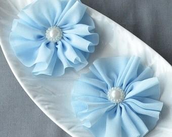 6 Light Baby Blue Pearl Ballerina Twirl Flower Soft Fabric Silk Chiffon Flower Bridal Wedding Garter Baby Headband SF187