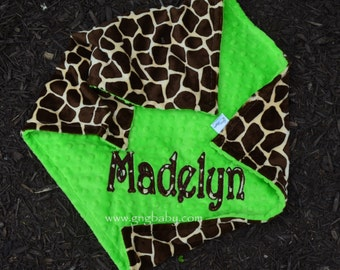 Minky Blanket-Giraffe Minky-Bright Lime Minky-Personalized-Applique-Baby-Girl-Boy-Toddler-Stroller-Crib-Toddler Bed