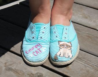 Hand Painted Grumpy Cat Sneakers