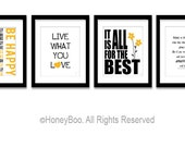 Positive posters, typography print, art prints, black yellow, live what you love, inspiring words, art decor, wall art, set of 4