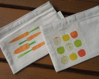 Reusable snack bag - Unbleached cotton snack bag to match your sandwich or lunch bag