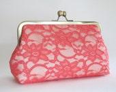 SALE Bridal Silk And Lace Clutch, Coral/Cream Clutch,Bridal Accessories, Bridal Clutch, Bridesmaid Clutches