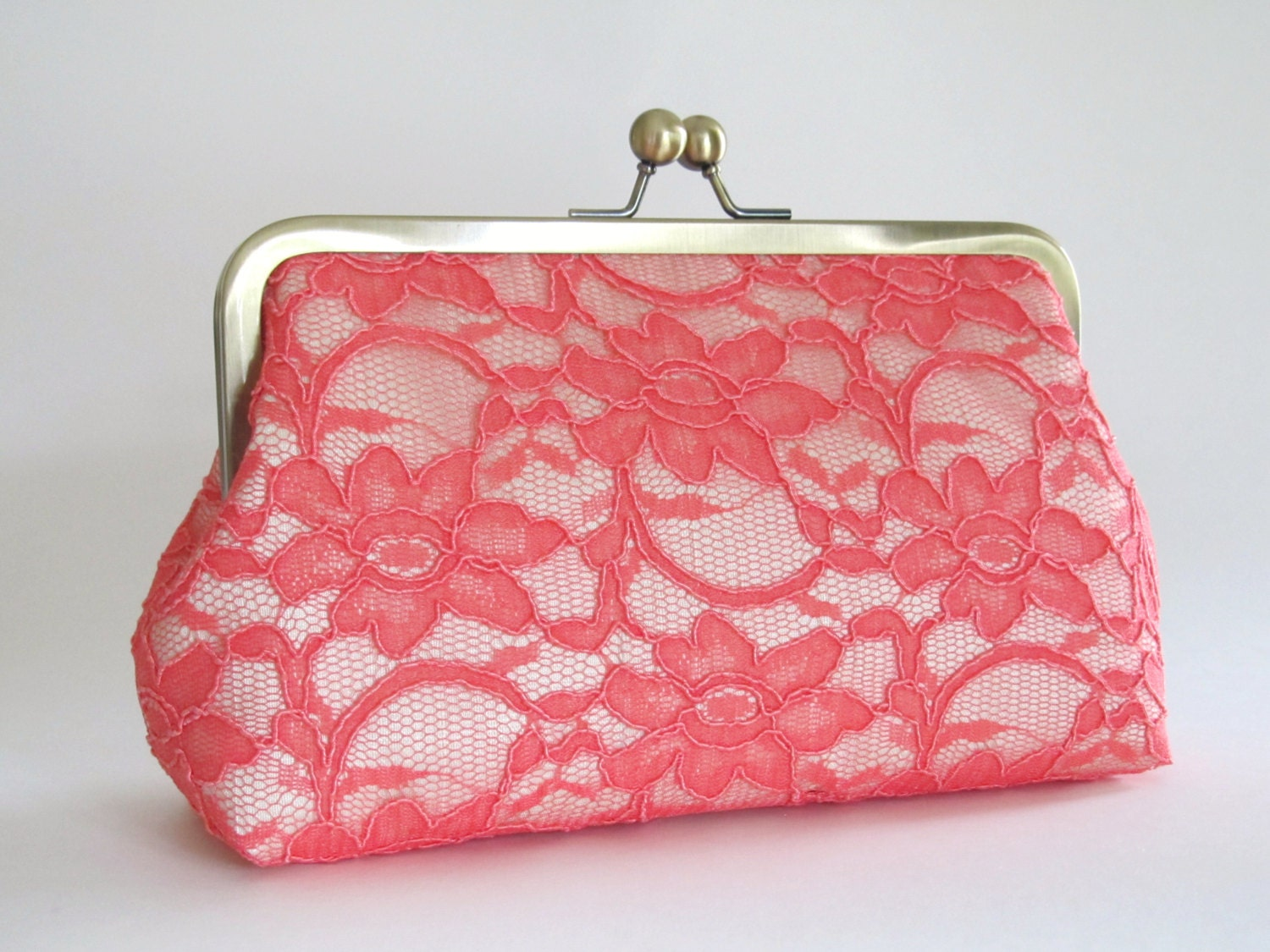 Bridal Silk And Lace Clutch, Coral/Cream Clutch,Bridal Accessories, Bridal Clutch, Bridesmaid Clutches