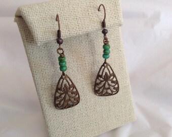 Dangle brass earrings, beaded dangle  earrings, fall fashion beaded earrings