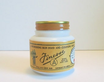 Rare Antique Jar of FINESSE A Cream for Skin, from Betts & Mumpeton, Certified by Mae Davies, Hazel Atlas Milk Glass, Original Contents