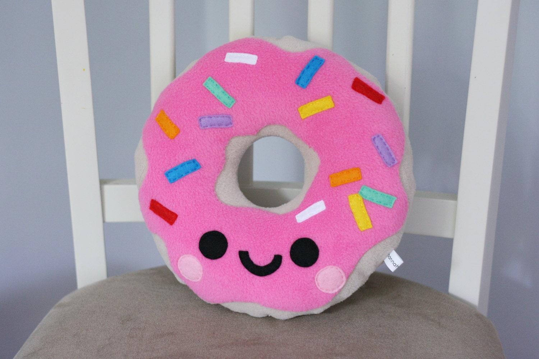 Pink Strawberry Happy Doughnut Fleece Plush Pillow / Kawaii