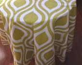 Round  tablecloth large print premier Emily artist green citrine white cotton