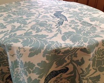 Round tablecloth village blue on natural with blue bird, custom sizes made to order