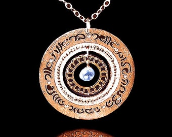 Jewish necklace, Rose Gold necklace, Blue Topaz jewelry, Judaica jewelry, Hebrew jewelry, Hand written, Engraved jewelry