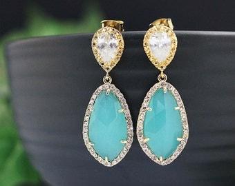 Wedding Jewelry Bridal Earrings Bridesmaid Earrings Dangle Earrings LUX Mint Opal with cubic zirconia drop Earrings