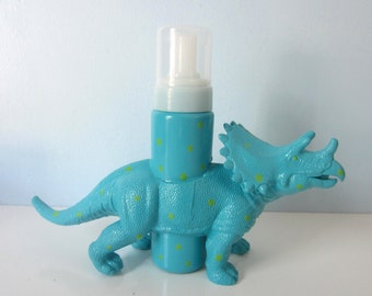 Upcycled Foaming Soap Dispenser -  Turquoise Triceratops Dino with Green Polka Dots