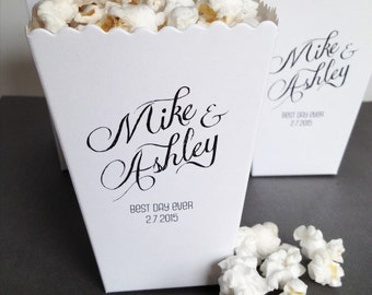 Popcorn Box, Wedding Favor, Custom Printed Mini Popcorn Box