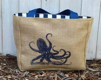 Eco-Friendly Octopus Market Tote Bag, Handmade from a Recycled Coffee Sack