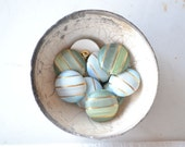 Vintage ceramic buttons, green light blue and gold, stripes pattern  - 10 pieces