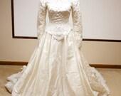Vintage beaded lace Bridal Gown Silk Dupioni Wedding Dress long sleeve - winter weddings
