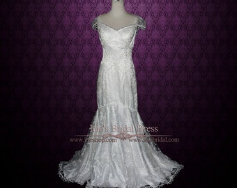 Vintage Style Lace Cap Sleeves Mermaid Wedding Dress | Fit n Flare Wedding Dress | Lace Wedding Dress | Candice