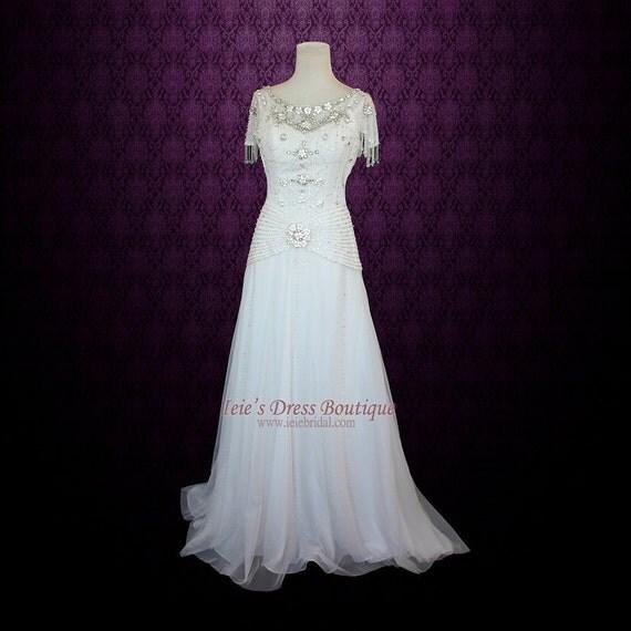 Damask Style Retro Hollywood Wedding Dress Vintage Wedding