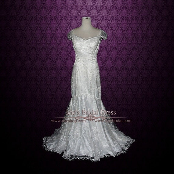 Lace Wedding Dress With Cap Sleeves Style D1919 : Style lace cap sleeves mermaid wedding dress fit n flare