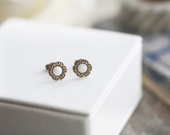 Snowdrop - Vintage Style Small Stud Floret Earrings with Gold Filled Posts