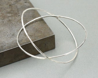 Hammered Silver Bangle Bracelet, Orbit Bangle, Unique Handmade Sterling Bangle, Artisan Silver Jewelry, Unique Silver Jewelry