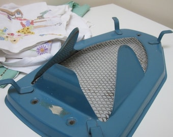 1950s Blue Metal and Mesh Iron Stand