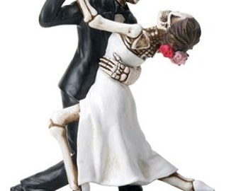 Halloween Wedding Cake Toppers Bride and Groom 1st Dance True Love Never Dies Goth Weddings-Romantic Skeleton Dancing Couple Figurines-TLND2