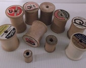 10 Wooden Thread Spools Random Selection Most 1.75 Inches Tall Some 1.25 or 1 inch Craft Supplies