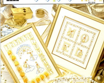 Golden Christmas Angels Noel Sampler Stars Gold Hair Wings Numbers Advent Calendar Counted Cross Stitch Embroidery Craft Pattern Leaflet