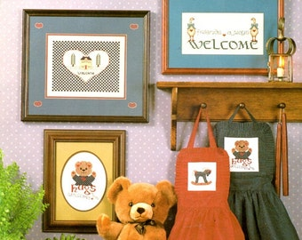 Heart Felt Welcome Welcome Home Friends Hugs Teddy Bear Rocking Horse Goose House Counted Cross Stitch Embroidery Patterns Craft Leaflet 2