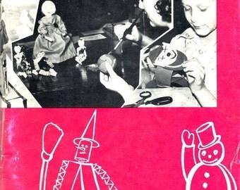 Paper Figures Vintage 1950s Children's Art Paper Dolls Witch Snowman Clown Pilgraim Train Rabbit Bear Frog Mouse Cat Duck Craft Pattern Book