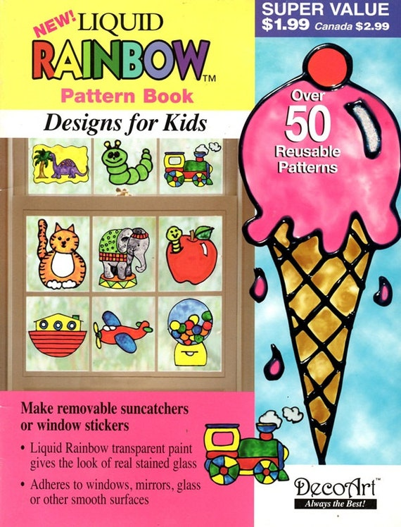 Liquid Rainbow Transparent Window Reusable Patterns for Kids Paint Faux Stained Glass Elephant Ice Cream Plane Gumballs Cat Craft Leaflet