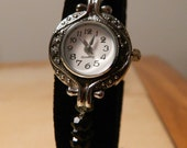 Watch with Faceted Jet Black Czech Beads, Elegance I