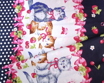 Lolita fabric, Kitten fabric, Strawberry fabric, Japanese fabric, Quilt fabric, Cotton fabric, DIY crafts, 1 yard FB122