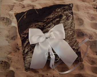 Camo Camouflage White Bow Wedding Ring Bearer Pillow