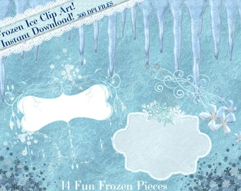 Frozen Clipart, Frozen Ice Graphics, Ice cycle Clipart, Frozen Frames, Winter Clipart