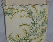 Mid Century Calpotter California Pottery Vase Delicate Ruffled Edge