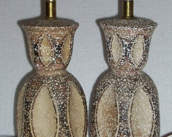Mid Century Modern Textured Pottery Table Lamps
