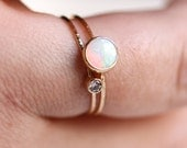 SOLID 14k Gold - Natural I1 White Diamond and a Natural Fiery AAA Opal - Set of Two Tiny Delicate Dainty and Simple Stacking Rings