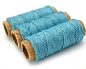 Hemp Thread, Light Blue, 3 Mini Spools, 0.2mm, 22 Yards, Eco Friendly,  Thread -HC119