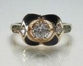 Vintage Antique Diamond and Enamel Engagement Ring - 0.36 Carats Diamonds