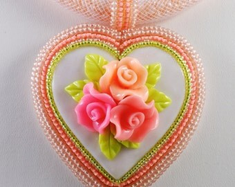 Heart Pendant Polymer Clay, Flowers Pink Beadwork Necklace, Shabby Chic, OOAK