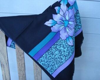Vintage Wool Challis Large Scarf Shawl Black Purple Turquoise