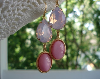 Faceted Pink Opal Teardrops and Vintage Rose Moonstone Glass Teardrop Gold Earrings
