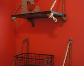 Rustic Wooden Display Shelf with Rope Detail Size SMALL ONLY