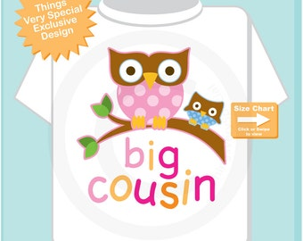 Big Cousin Shirt, Big Cousin Owl Tee Shirt or Big Cousin Onesie Pregnancy Announcement, Owl Big Cousin (06242014b)
