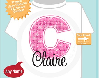 Pink Initial C Name Monogram Shirt Personalized Tee Shirt or Infant Onesie for Girls whos names start with C (09092014e)