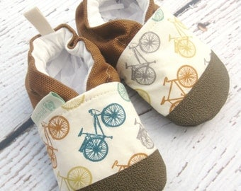 Organic Vegan Fun Bikes / non-slip soft sole baby shoes / made to order / babies toddlers preschool