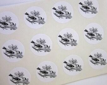 Goldfinch Bird Stickers One Inch Round Seals