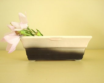 Vintage Hull pink planter, pink & black ceramic pottery planter, mid-century modern 1950s 1960s, flared low oblong planter or serving dish